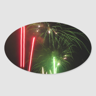 Colorful fireworks of various colors light up the oval sticker