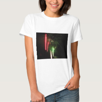 Colorful fireworks of various colors light up the t shirts