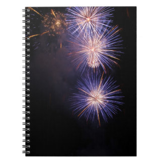 Colorful fireworks of various colors note books