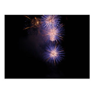 Colorful fireworks of various colors postcard