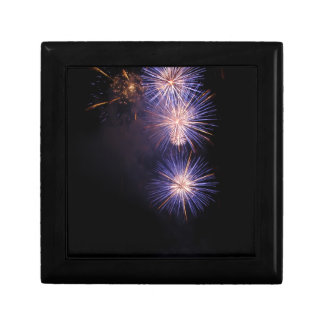 Colorful fireworks of various colors small square gift box