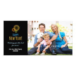 Colorful Fireworks on Black, Happy New Year Customised Photo Card