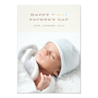 "Colorful First Father's Day Card - Mocha 5"" X 7"" Invitation Card"