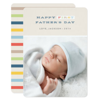 Colorful First Father's Day Card - Navy 13 Cm X 18 Cm Invitation Card