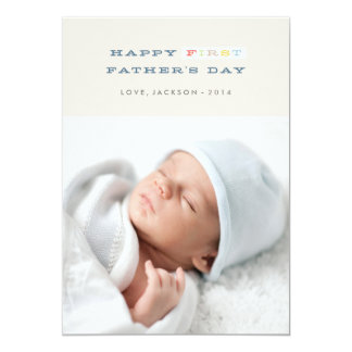 "Colorful First Father's Day Card - Navy 5"" X 7"" Invitation Card"
