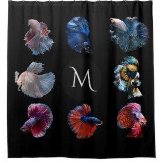 Colorful Fish custom monogram shower curtain