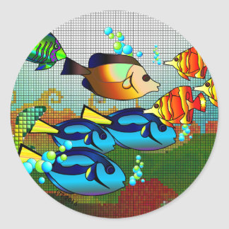 Colorful Fishes Swimming Sticker