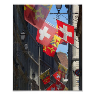 Colorful Flags in Geneva, Switzerland Photo Print