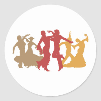 Colorful Flamenco Dancers Classic Round Sticker