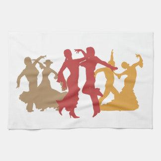 Colorful Flamenco Dancers Hand Towel