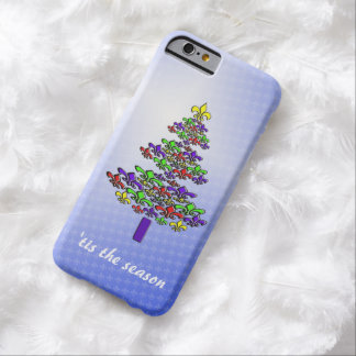 Colorful Fleur de Lis Christmas Tree Barely There iPhone 6 Case