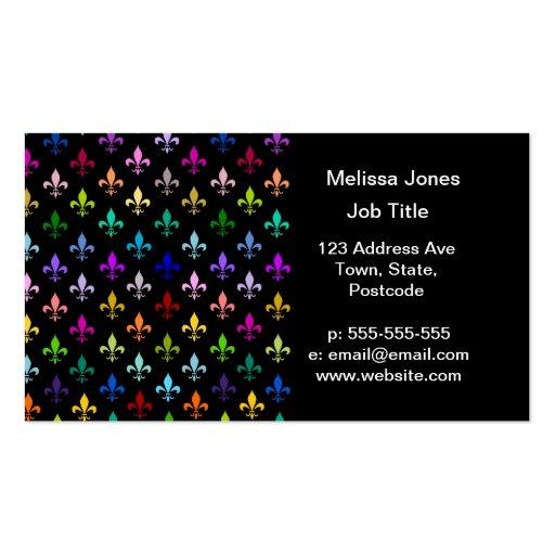 Colorful fleur de lis pattern on black business card template