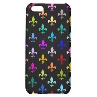 Colorful fleur de lis pattern on black iPhone 5C case
