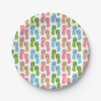Colorful Flip Flop Sandals Summer Pattern 7 Inch Paper Plate