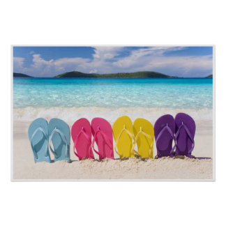 Colorful Flip Flops in the Sand Poster