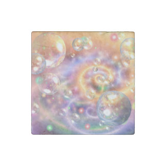 Colorful Floating Orbs Stone Magnet