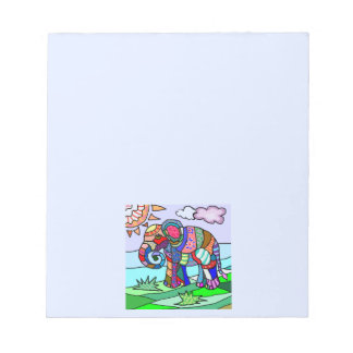 Colorful flocloristic beautiful elephant painting notepad