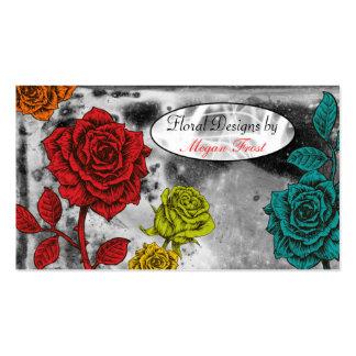 Colorful Flora Roses Florist Business Cards