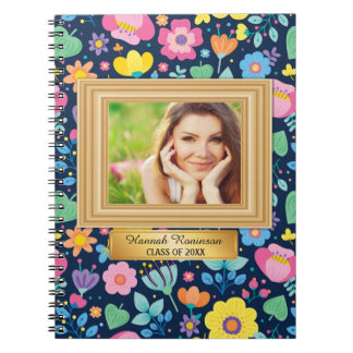 Colorful Floral and Gold Photo Graduation Notebook