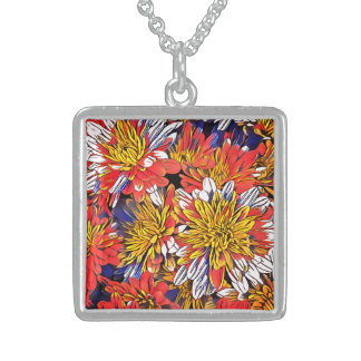 Colorful Floral Art Sterling Silver Necklace