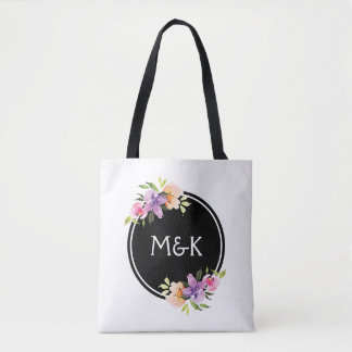 Colorful Floral Bouquet Monogram Tote Bag