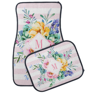 Colorful Floral Bouquet Pink & White Stripes Car Mat