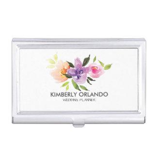 Colorful Floral Bouquet Watercolors Illustration Case For Business Cards
