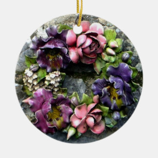 Colorful floral cemetery wreath round ceramic decoration