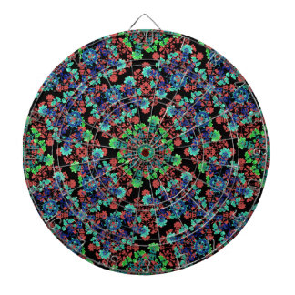 Colorful Floral Collage Pattern Dart Board
