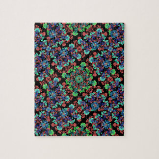 Colorful Floral Collage Pattern Jigsaw Puzzle