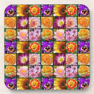 Colorful floral collage print coaster