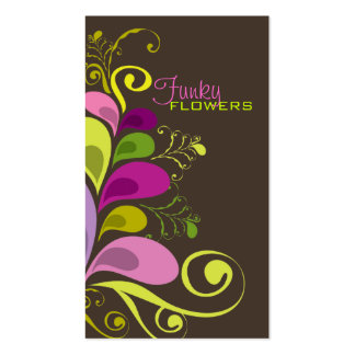 Colorful Floral Deco Leaves Nature Profile Card Business Cards