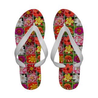 Colorful floral design flip flops