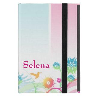 Colorful Floral Design Personalized Name ipad mini Case For iPad Mini