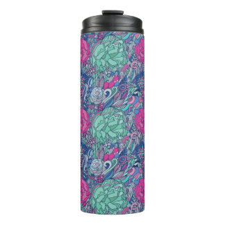 Colorful Floral Doodle Pattern Thermal Tumbler