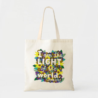Colorful Floral Doodle Typography Bible Verse Tote Bag