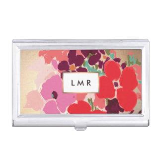 Colorful Floral, Elegant Fashion & Beauty Monogram Business Card Holder