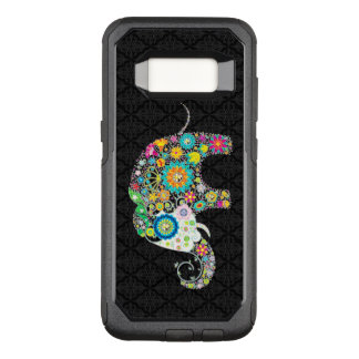 Colorful Floral Elephant Illustration On Black OtterBox Commuter Samsung Galaxy S8 Case