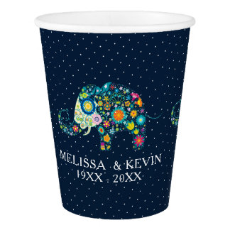 Colorful Floral Elephant & White Dots Paper Cup