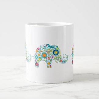 Colorful Floral Elephant White Floral Damasks 20 Oz Large Ceramic Coffee Mug