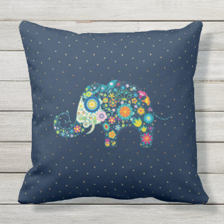 Colorful Floral Elephant With Gold Dots Pattern Cushion