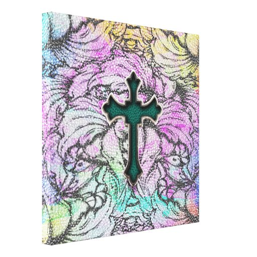 Colorful Floral Filigree Cross Gallery Wrap Canvas