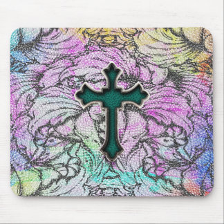 Colorful Floral Filigree Cross Mouse Pad