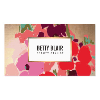 Colorful Floral, Gold Elegant Fashion and Beauty Pack Of Standard Business Cards