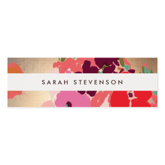 Colorful Floral Gold Striped Fashion and Beauty Pack Of Skinny Business Cards