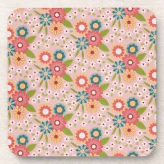 Colorful floral illustration coasters