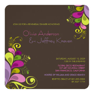 """Colorful Floral Leaves Rehearsal Dinner Invitation 5.25"""" Square Invitation Card"""
