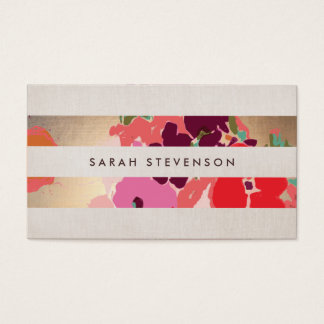 Colorful Floral Painted Flowers Gold Striped