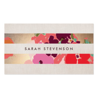 Colorful Floral Painted Flowers Gold Striped Pack Of Standard Business Cards