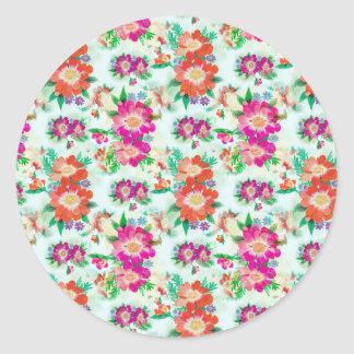 Colorful floral pattern classic round sticker